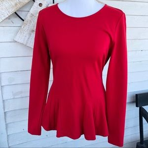 Holiday Red Fit and Flare Peplum Scoop Neck Blouse